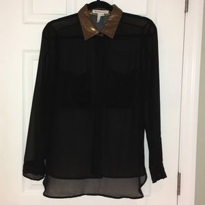 Sheer black BCBG top with accent collar